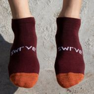 *SWRVE* no-show merino wool socks (brown/orange)