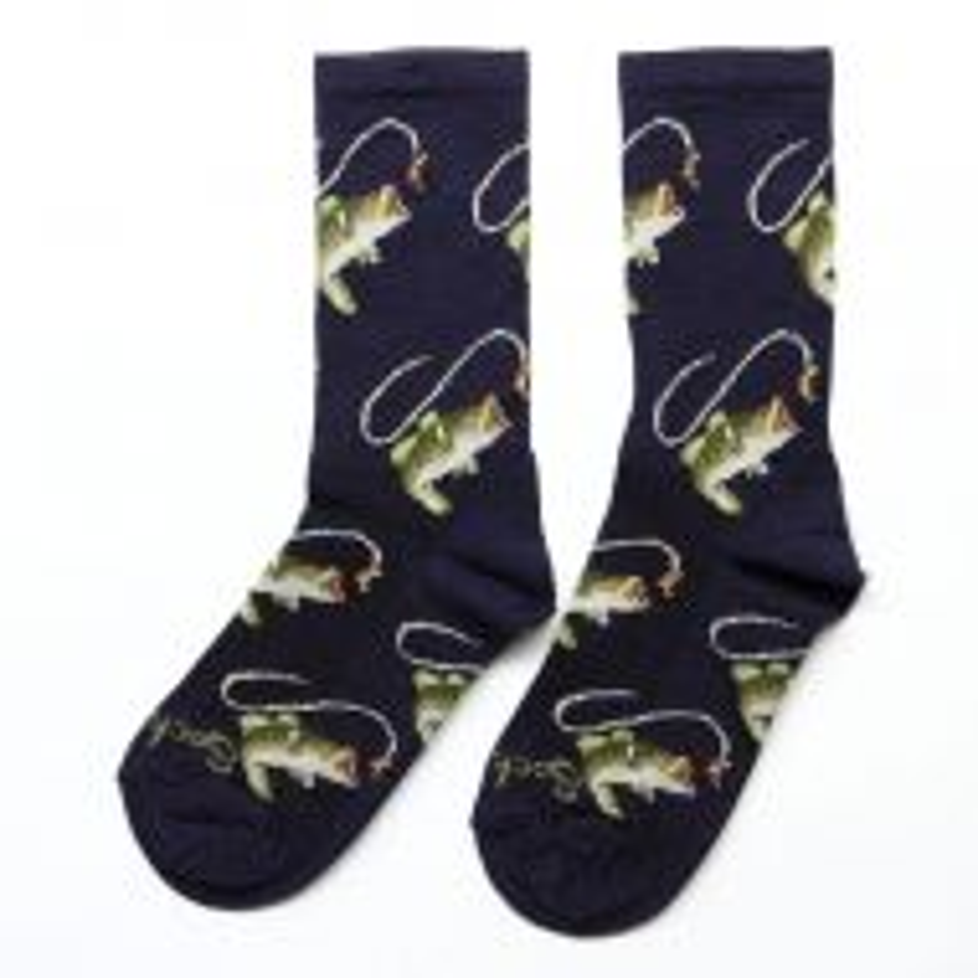 *SOCKGUY* wool crew socks (fish on)