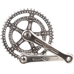 *VELO ORANGE* grand cru drillium 110 fluted double crankset (silver)