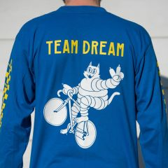*TEAM DREAM BICYCLING TEAM* check yo self checkered long sleeve tee (royal)