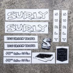 *SURLY* ice cream truck frame decal set (white)