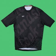 *LOOK MUM NO HANDS* stretch cycling jersey (black)
